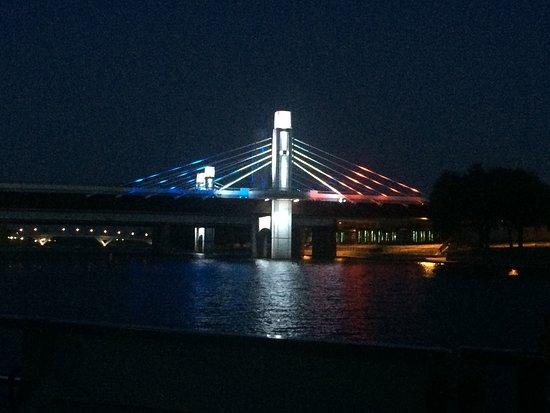 Brazos River Sunset Cruise in Waco: Patriotic lights on the I-35 bridges.
