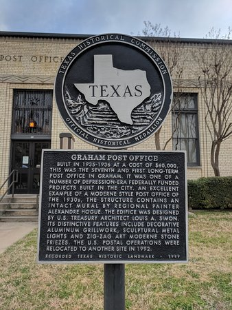 Old Post Office Museum and Art Center: Historical Marker for Graham Post Office