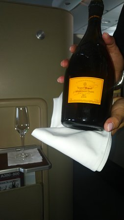 Qantas: Vintage-dated Champagne served on the A380 First Class Suite.