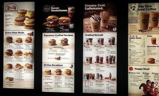 drive thru menu at mcdonald s picture of mcdonald s chicago rh tripadvisor com