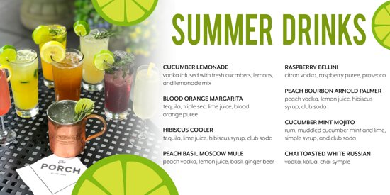 The Porch Restaurant at The Lamb: Summer Drinks