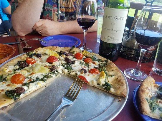 Arcadia, WI: The Mediterranean  wood-fired pizza.  Yum!