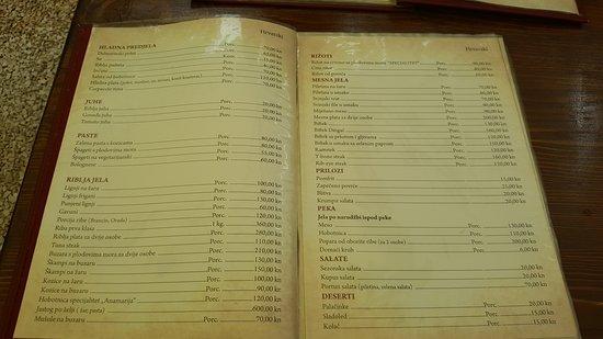 Potomje, Croácia: menu