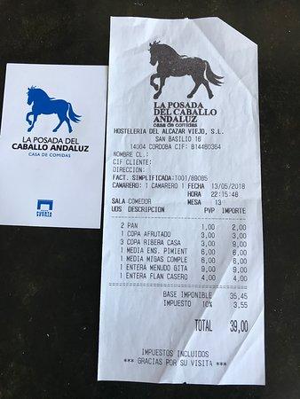 La Posada del Caballo Andaluz: La Cuenta