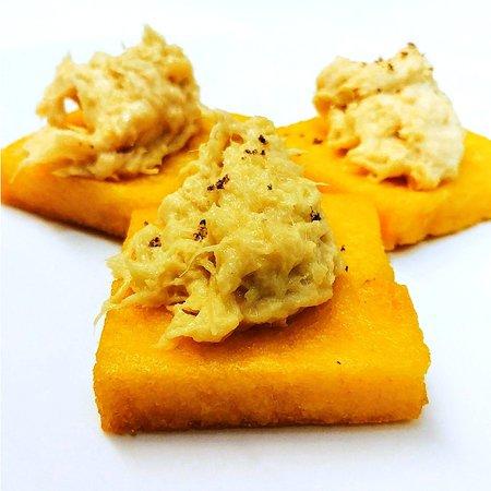 Fried Polenta with creamy Cod - Polenta Fritta con Baccala Mantecato