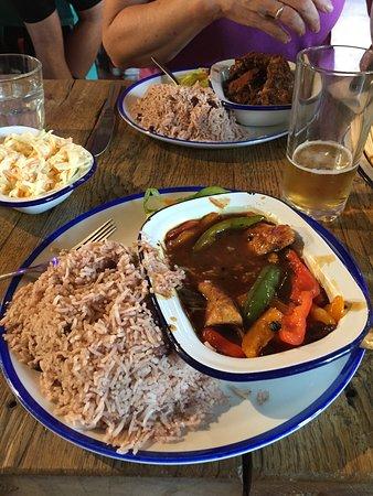 Yeahman: Coconut Chicken, Brown Chicken Stew in the background