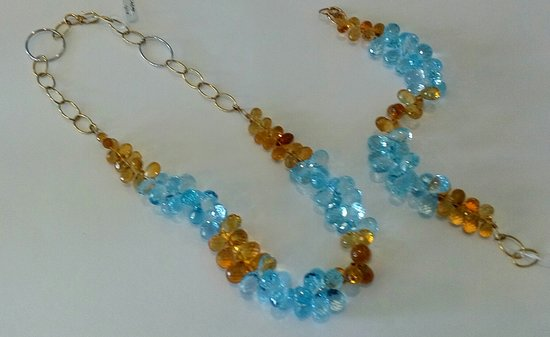 The Blue House Art Gallery: Blue and yellow Topaz with 18ct gold