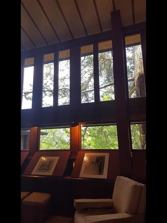 Taliesin Preservation: His use of wood, stone, and windows truly makes the home one with nature.