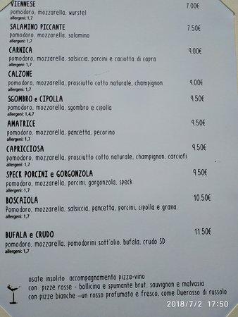 Majano, Italia: Menu pizze