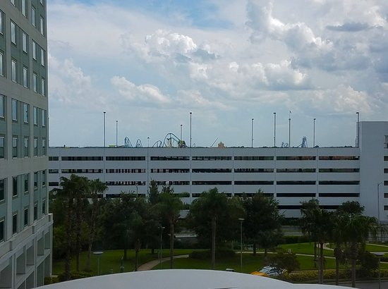 Hilton Orlando: View from my room looking due South. That's Sea World rollercoasters beyond the garage.