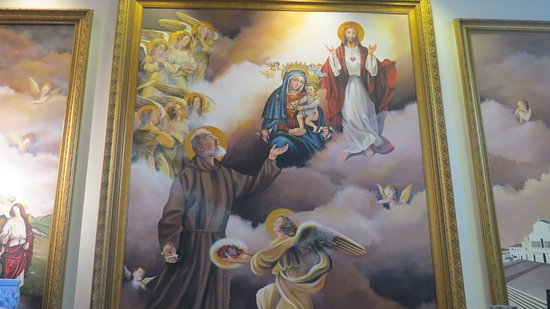 Barto, PA: Painting of Padre Pio in the cafe