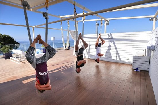 ME Ibiza: Anti-gravity yoga on the rooftop