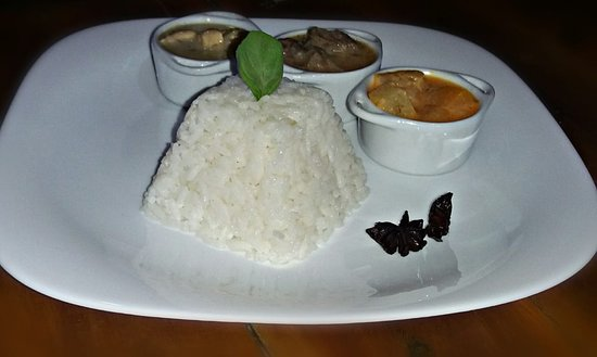 Aroma Icaraizinho: Curry Trio: red veggie, meet matsaman and green chicken, acompanied by anis infused rice!