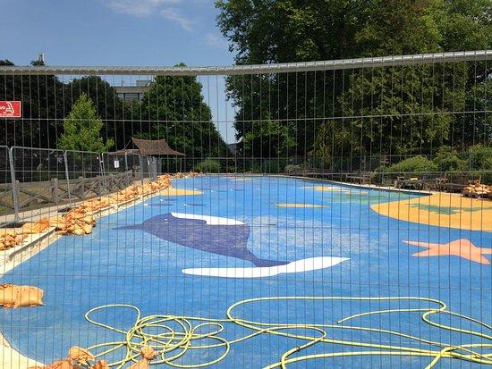 Stoke Park: Paddling lake under refurbishment (July 2018)