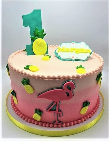 Flavor Cupcakery Bake Shop Flamingo And Pineapple Themed First Birthday Cake By