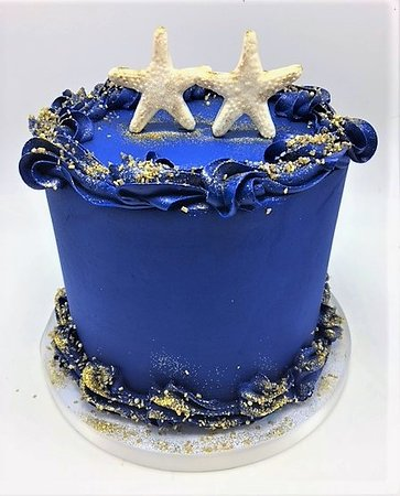 Awesome Blue And Gold Starfish Wedding Cake By Flavor Cupcakery Picture Personalised Birthday Cards Akebfashionlily Jamesorg
