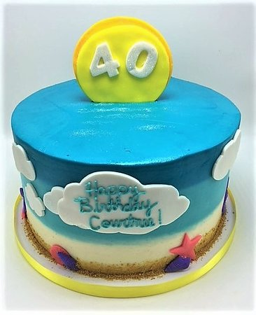 Astonishing Beach Themed 40Th Birthday Cake By Flavor Cupcakery Picture Of Funny Birthday Cards Online Unhofree Goldxyz