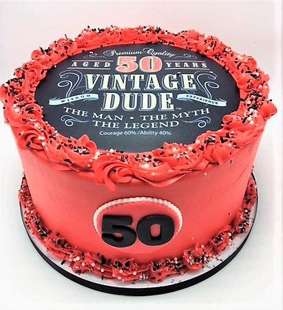 Flavor Cupcakery Bake Shop Custom Vintage Dude Aged 50 Years Birthday Cake By
