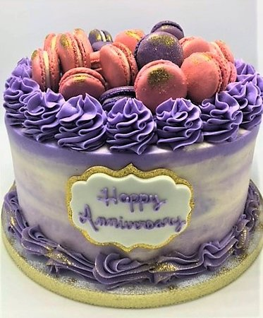 Awe Inspiring Purple Pink And Gold Watercolor Birthday Cake With Macarons By Birthday Cards Printable Opercafe Filternl