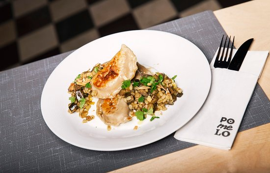 Pomelo Bistro: Dumplings (also called russian dumpling) with pearl barley