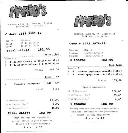 Mario's Trattoria: De bonnetjes