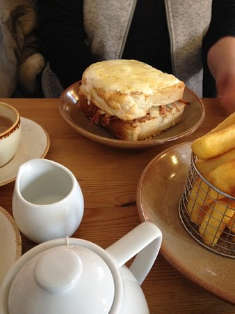 Northwold, UK: A Croque Monsieur each and chips between us, no room for afters!