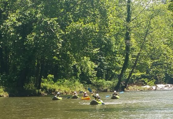 Spruce Pine, NC: our group coming to the end of our whitewater kayaking trip.