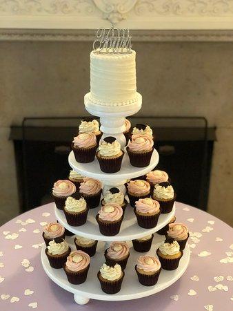 Simple Bright Wedding Cake Cupcake Display By Flavor Cupcakery