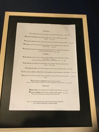 Auld Acquaintance Cafe (International Fusion Food): Menu of Girvan s choice
