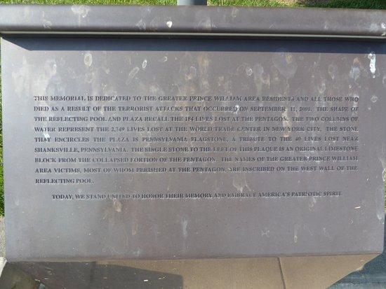 Prince William Area 911 Liberty Memorial: Sign
