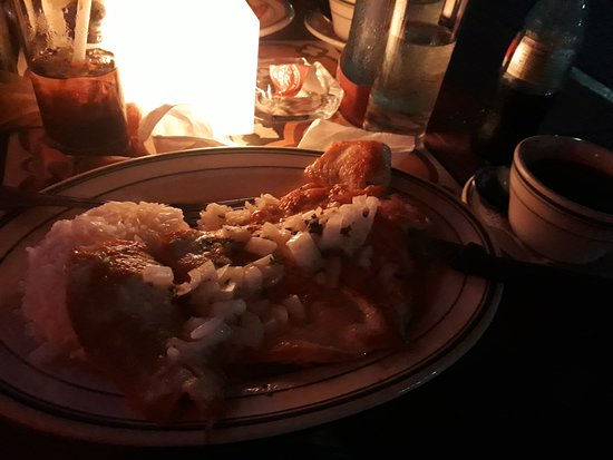 Havana 1957 Ocean Drive: Pollo with onions, rice and refried beans