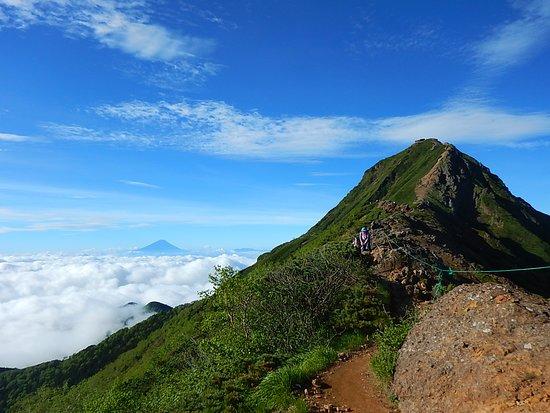 Akadake: 赤岳の左に富士山