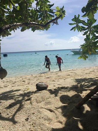 Kolonia, Micronesia: My kids enjoying the Ant Atoll Beach