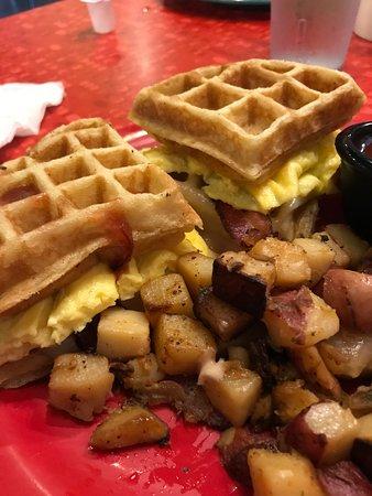The Friendly Toast: Waffle breakfast sandwich!