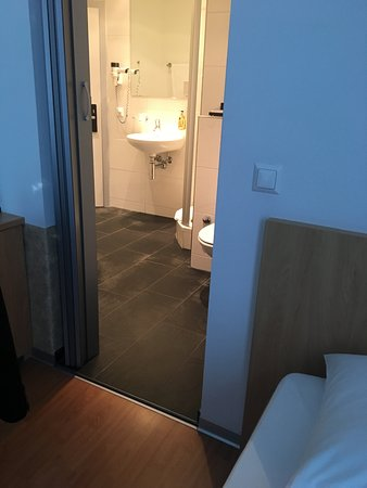 Sorell Hotel Rex: Main door takes you directly into the toilet