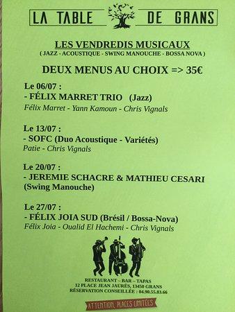 Grans, Francia: Chaque vendredi des mois de JUILLET et AOÛT nous organisons des soirées musicales
