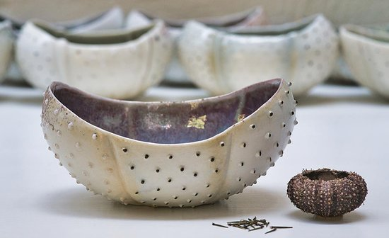 Svendborg, Denmark: Porcelain Sea Urchin in Ulla Sonne's workshop