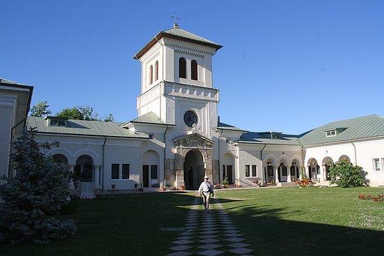 Manastirea Dealu: Binnenplaats met een mooie tuin.