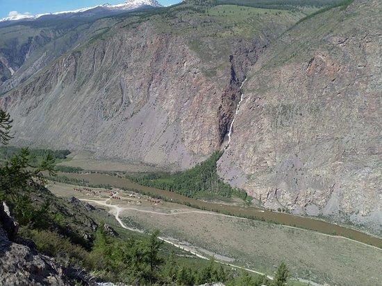 Ulagan, Rusia: вид на долину Чулышман с перевала Кату- Ярык
