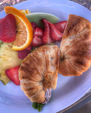 Mountain Center, Калифорния: Chicken salad sandwich on croissant with a side of fruit.