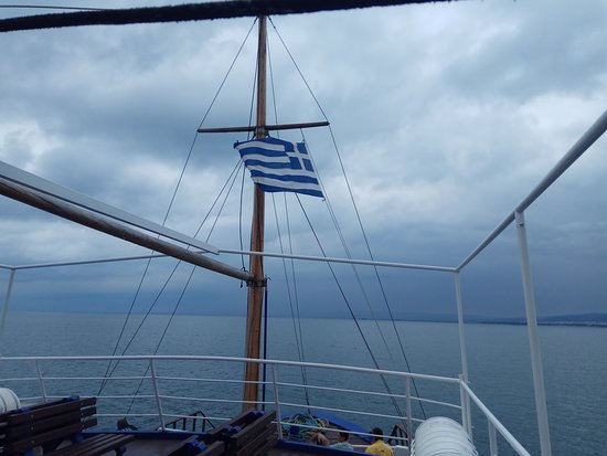 Karavakia: палуба парома Пирея - Салоники, на горизонте Салоники