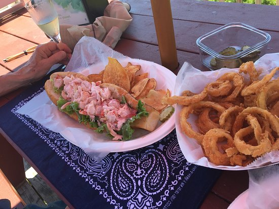 Pemaquid, ME: Lobster roll, chips and rings.