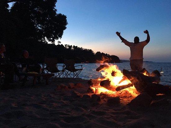 Rubondo Island, Tanzania: Daniel and the beach campfire