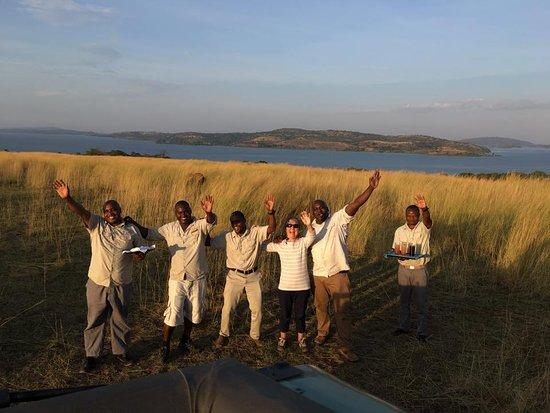 Rubondo Island, Tanzania: The team greeting us for sundowners