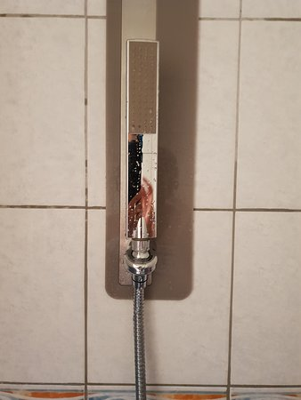 Hotel Briand: Tiny shower head on a magnetic strip- angle could not be adjusted and kept falling down anyway
