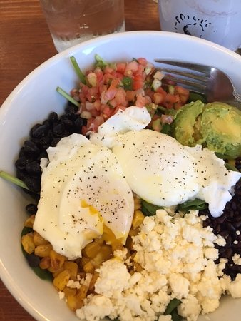 Popover Cafe & Bakery: Poached Eggs over Mexican Salad
