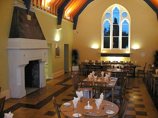 Hinsley Hall: The dining room is a splendid Gothic hall,offering a good choice of freshly cooked food.