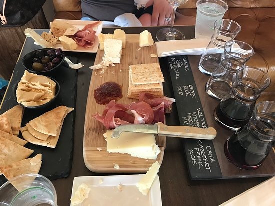 Sagaponack, NY: Our wine flight with some meats and cheeses