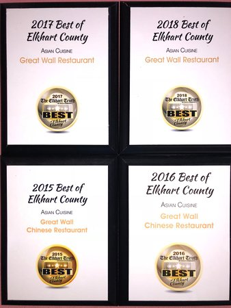 Great Wall Chinese Restaurant: voted best asian restaurant in elkhart county 4 years straight