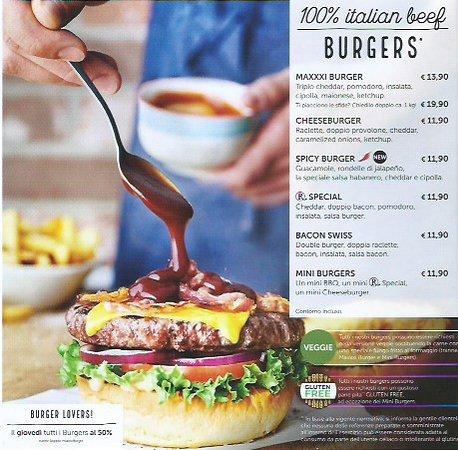 menù dei burger